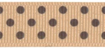 "Offray - Clear Confetti Dots Ribbon 5/8"" - Oat/Brown"