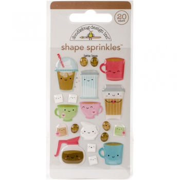 Doodlebug - Sprinkles Adhesive Shapes Cream & Sugar Latte Love