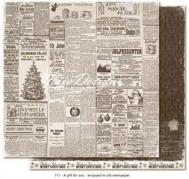 Maja Design - Scrapbooking Papier A Gift for You Wrapped in old newspaper 12x12""