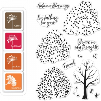 Hero Arts - Clear Stamps Autumn Trees & Ink Cubes