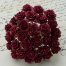 Wild Orchid Crafts - Open Roses Burgundy 1.5 cm - 100 Stück