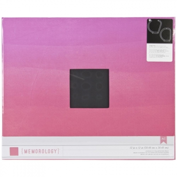"American Crafts - Patterned D-Ring Album 12x12"" - Pink Ombre"