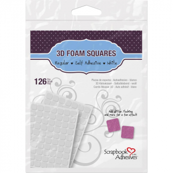 Scrapbook Adhesives - 3D Foam Pads Squares White 11x12x2mm