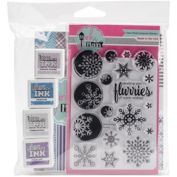 Pink & Main - Clearstempel, Papierblock und Stempelkissen Kit Frosty Flurries