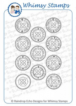 Whimsy Stamps - Cling Stamps Everyday Button Sentiments