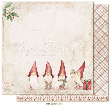 Maja Design Papier Traditional Christmas Santa's Elves Scrapbookingpapier 12x12