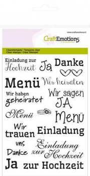 CraftEmotions - Clearstempelset A6 Texte Hochzeit