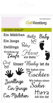 CraftEmotions - Clearstamps Set Text Baby - PRE-ORDER