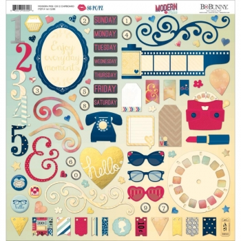 Bo Bunny - Chipboards Modern Miss Self-Adhesive Chipboard 12x12""