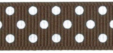 "Offray - Confetti Dots Ribbon 5/8"" - Brown"