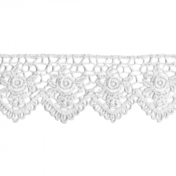 Spitzenband Venice Lace Scallop Edge Rose - weiss