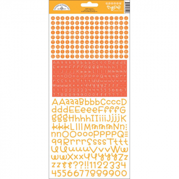 Doodlebug Design - Teensy Type Alphabet Stickers Tangerine 12x6""