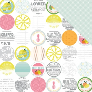 American Crafts - Scrapbookingpapier Pink Paislee Citrus Bliss Sour 12x12""