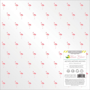 American Crafts - Pink Paislee Citrus Bliss Clear Acetate Flamingo 12x12""