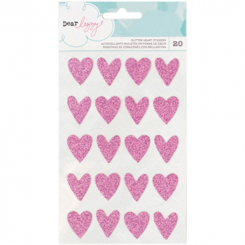 American Crafts - Dear Lizzy Glitter Hearts Stickers 20 Stück