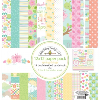 Doodlebug - Scrapbooking Papier Spring Things Paper Pack 12x12""