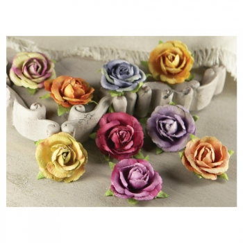 "Prima Marketing - Sherwood Rose Mulberry Paper Flowers 1"" - 9 Stück"