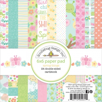 Doodlebug - Scrapbooking Papier Spring Things Paper Pad 6x6""