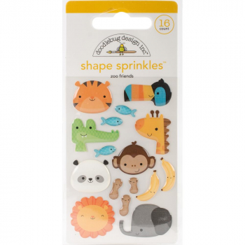Doodlebug Design - Adhesive Glossy Shape Sprinkles Zoo Friends