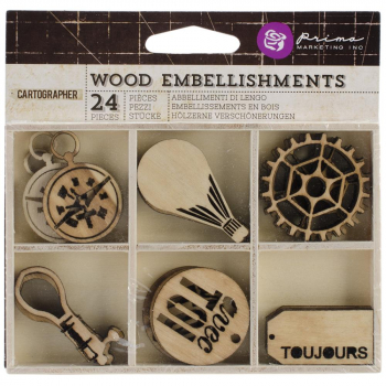 Prima Marketing - Cartographer Wood Embellishments - 24 Stück