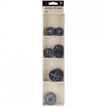 Prima Marketing - Resin Icons Chalk Black Gears - 12 Stück