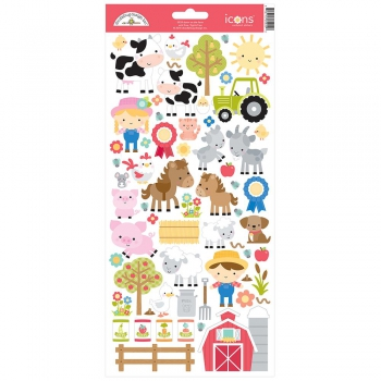 Doodlebug Design - Down on the farm Icons Cardstock Stickers