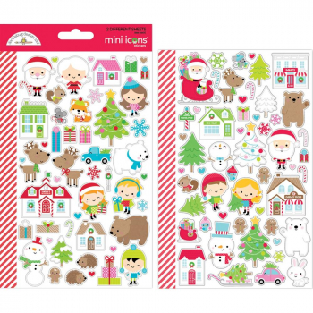 Doodlebug Design - Stickerbogen Christmas Town Mini Icons Stickers