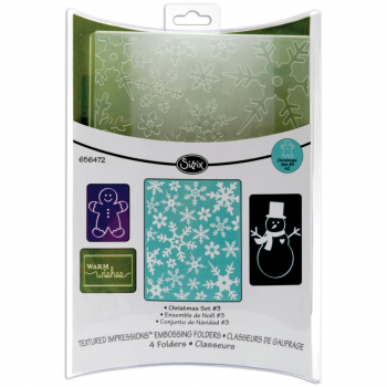 Sizzix - Textured Impressions A2 Embossing Folders - Christmas #3 - 4 Stück