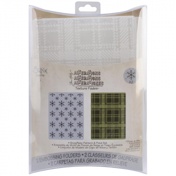 Sizzix - Texture Fades A2 Embossing Folders - Snowflake Pattern & Plaid Set