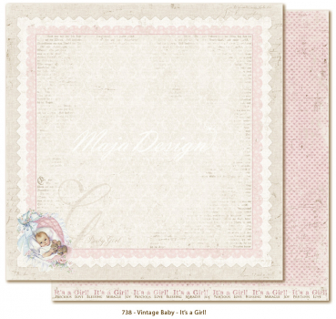 Maja Design - Vintage Baby It's a girl 12x12""