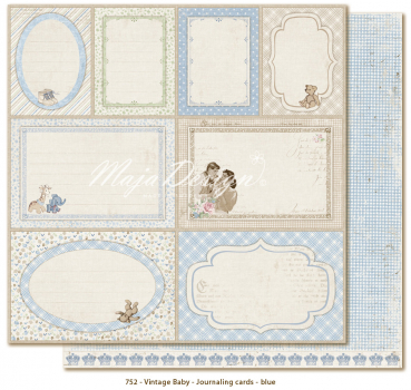 Maja Design - Vintage Baby Journaling cards blue 12x12""