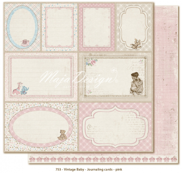 Maja Design - Vintage Baby Journaling cards pink 12x12""