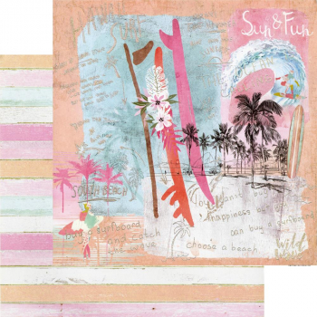 Prima Marketing Surfboard Sun & Fun Foliert Scrapbookingpapier 12x12""