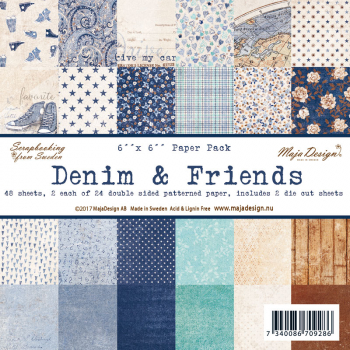 "*NEU Maja Design - Scrapbooking Papier Denim & Friends Paper Pack 6x6"" 48 Blatt"