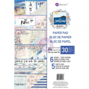 Prima Marketing - Scrapbooking Papierblock Santorini A4 30 Blatt