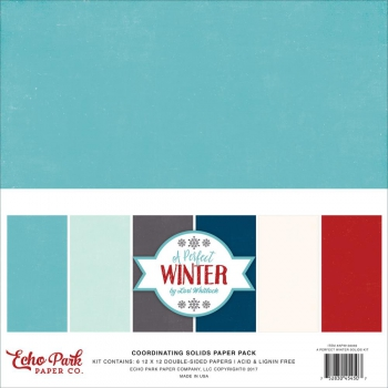 "Echo Park Paper - Scrapbookingpapier A Perfect Winter Double-Sided Solid Cardstock 12""X12"" 6/Pkg"