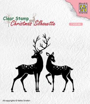 Nellie's Choice Clearstempelset Christmas Silhouette Deer 7x6.5cm