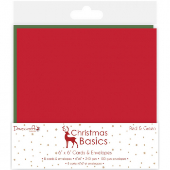 "Trimcraft - Dovecraft Christmas Basics Cards w. Envelopes 6""X6"" 8/Pkg"