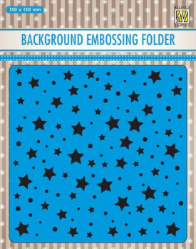 Nellie's Choice Prägeschablone Stars and dots Background Embossing Folder 15x15cm