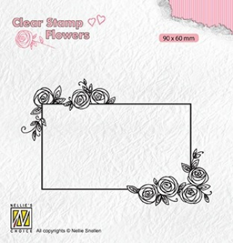 Nellie's Choice Clearstempel Frame with Roses 9.0x6.0cm