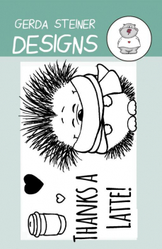 Gerda Steiner Designs - Clearstempel Hedgehog with Coffee 2x3""