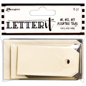 Ranger - Letter It Assorted Tags Ivory and Grey 18 Stück