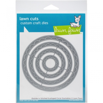 Lawn Fawn Stanzschablonen Outside In Stitched Scalloped Circle Dies