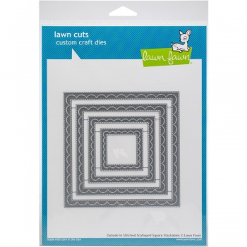 Lawn Fawn - Outside In Stitched Scalloped Square Dies