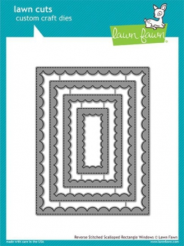 Lawn Fawn - Stanzschablonenset Reverse Stitch Scallop Rectangle Window Dies