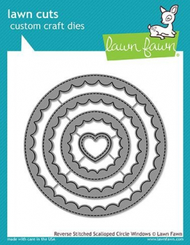 Lawn Fawn - Stanzschablonenset Reverse Stitched Scalloped Circle Windows