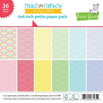 Lawn Fawn - Papierblock Really Rainbow Scallops Petite Paper Pack 6x6