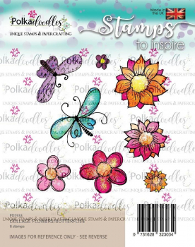 Polkadoodles Clearstempelset Collage Flowers Butterflies