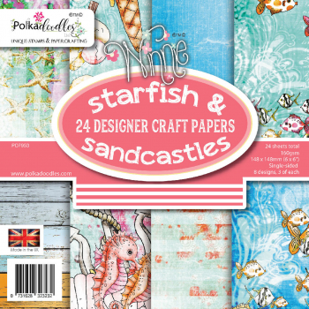 Polkadoodles Papierblock Starfish & Sandcastles Craft Papers 6x6""