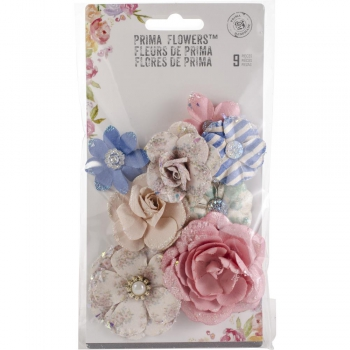 Prima Marketing - Papierblumen mit Glitzer Santorini Mulberry Paper Flowers Fira 9 Stück